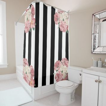 Roses with Black and White Stripes Shower Curtain
