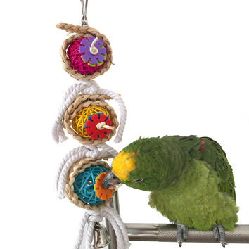 Pet Bird Parrot Parakeet Ball Cotton String Toy Cockatiel Conure Chew Bites Cages Craft Birds Toys with bell Newest 2017