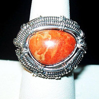 "Sponge Coral Ring Signed 925 Sterling Silver Wire Wrap Teardrop Sz 7 1/2"" NOS Vintage"