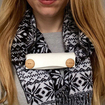 Upcycled Extra Wide Ivory Leather 2 Weaved Button Embellished Scarf Cuff