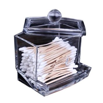 Clear Acrylic Storage Holder Box Transparent Cotton Swabs Stick Cosmetic Makeup Organizer Case High Quality