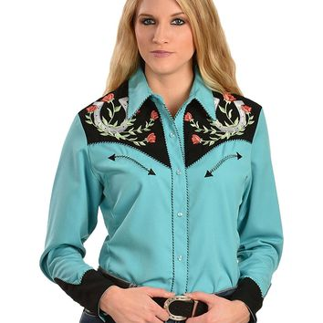 Scully Women's Horseshoe Embroidered Retro Western Shirt - Pl-637Tq