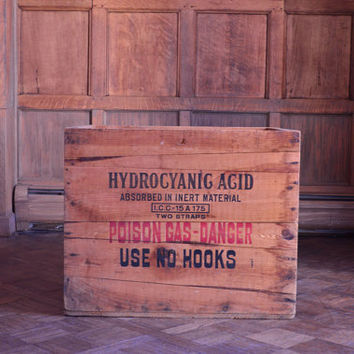 LARGE Vintage Poison Gas Crate, Wood Acid Danger Shipping Crate, New York Crate, New Jersey Crate