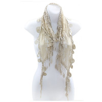 Romantic Lace Scarf with Duo Tassels