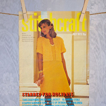 Vintage 1970s Pattern Book Stitchcraft Magazine including Knitting, Crochet, Embroidery, Rugmaking & Crafts July 1973 Summer Issue Holidays