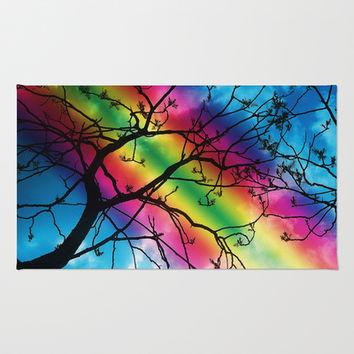 Rainbow tree Area & Throw Rug by Pirmin Nohr