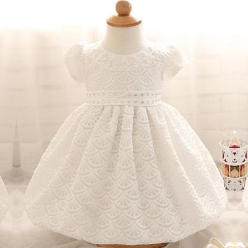 Pretty Newborn Baby Girl 1 2 Year Birthday Dress Summer Brand Toddler Girl Baptism Dress Infant Kids Party Wear Clothes Vestido