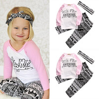 3 Pcs Newborn Kids Baby Girl Letter Floral Outfit Set Infant  Babies Girls Awesome Tops+Printed Pants+Headband Outfits Clothing