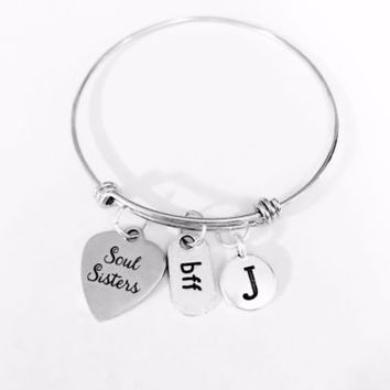 Adjustable Bangle Charm Bracelet Soul Sisters Initial BFF Best Friend Gift