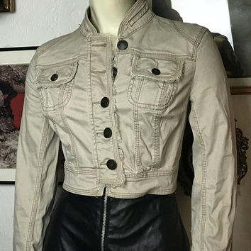 Vtg Khaki Tan Denim Crop Jacket / NOBO No Boundaries Juniors Cropped Jacket / Military Jean Jacket /  Clueless Style 90s Button Up Jacket