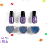 Purple Spa Party Favors 2 Piece Sets,Mini Nail Polish,Heart Shaped Gloss