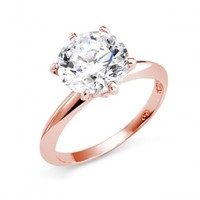 Bling Jewelry Rose Gold Vermeil Round Cut CZ Solitaire Engagement Ring 3.5 ct | Bling Jewelry