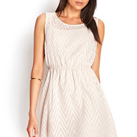 FOREVER 21 Embroidered Zigzag Dress Taupe