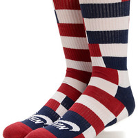 Nike SB Dri-Fit Red, White, & Navy Striped Crew Socks