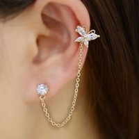 Butterfly Tassel Rhinestone Ear Cuff (Single, One Piecing) - LilyFair Jewelry