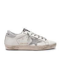Golden Goose Superstar Sneakers in White & Silver | FWRD
