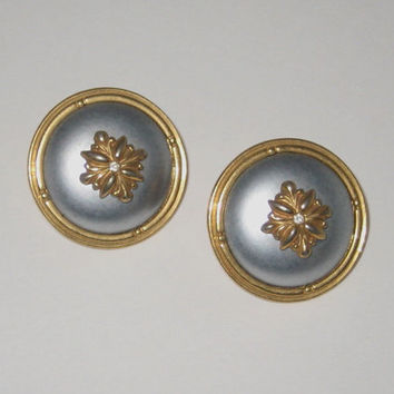 Vintage Costume Earrings, Silver/Gray with Gold Color Trim, Stud Post Earrings