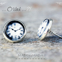 Clock Post Earrings Black & white Fun Jewelery, Free Shipping from MADEbyMADA