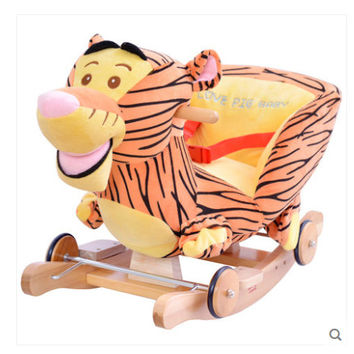 Kingtoy Plush Baby Rocking Swing Chair Children Wood Swing Seat Kids Outdoor Ride on Rocking Cradle Toy