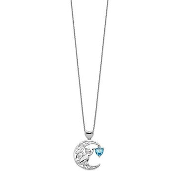 Sterling Silver Blue Heart Cat And Moon Filigree Crescent Necklace