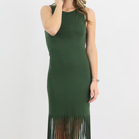 The Fairgrounds Olive Sleeveless Fringe Hem Midi Dress