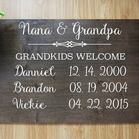 FAST SHIPPING Grandparents Personalized Sign, Custom Canvas for Grandma, BEST CHRISTMAS GIFT Made to Order, Grandparents Gift, Grandkids names and birthday Wooden.sign#KL01