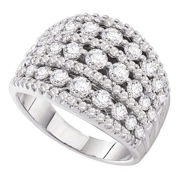 14kt White Gold Women's Round Pave-set Diamond Wide Fashion Band Ring 3.00 Cttw - FREE Shipping (US/CAN)
