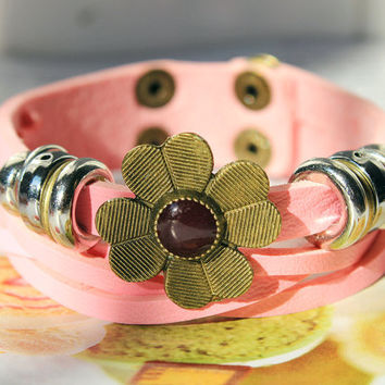 Graduation Gift Bronze Flower Charm and Metal Ring Cute Pink Soft woven Leather Buckle Bracelet Fashion bangle Leather Cuff  C-29