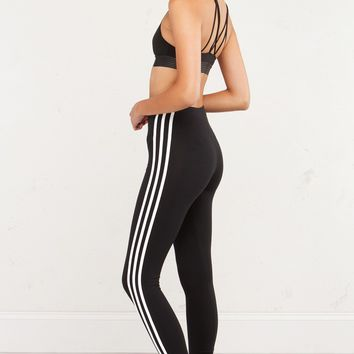 adidas 3 Stripes Leggings in Black White