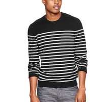 Cotton Cashmere Striped Crew Sweater