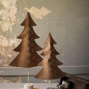 Set of 2 Paper Trees On Wooden Bases With Led Lights