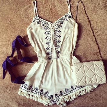 Fringed Embroidery Strappy Romper