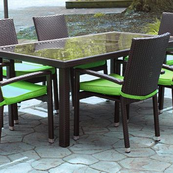 7-Piece Black Resin Wicker Outdoor Furniture Patio Dining Set - Lime Green Cushions