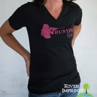HUNTING GIRL, V-neck glittery semi-fitted sparkle tee shirt, choose from 2 shirt styles