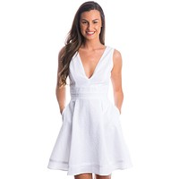 Morgan Seersucker Dress in White by Lauren James - FINAL SALE