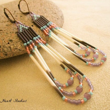 Porcupine quill earrings  -  purple - Native American style - beaded