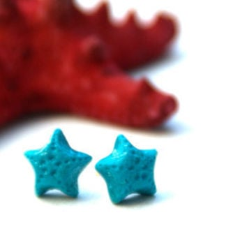 Starfish studs, polymer clay summer earrings, nature inspired, Cute handmade nature inspired
