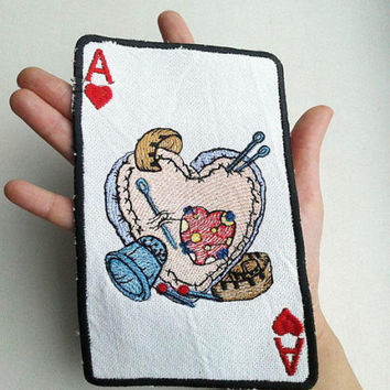 Playing Card White Ace Chirva Heart Applique Embroidery Patch