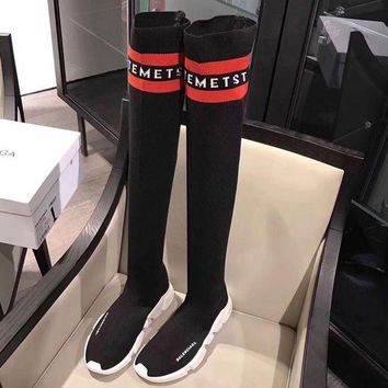 Balenciaga Fashion Women Personality Speed Stretch-Knit High Barrel Knee Socks Shoes I/A