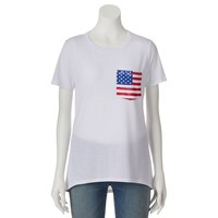 Modern Lux American Flag Pocket High-Low Tee - Juniors, Size: