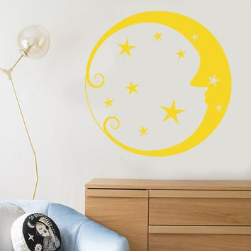 Vinyl Wall Decal Moon Face Stars Circle Art Children's Room Decor Stickers Unique Gift (1382ig)