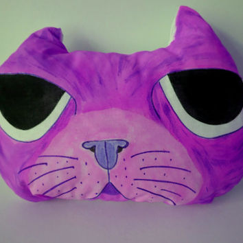 Hand Painted Cat Pillow,Nursery Decor,Decorative Purple Cat,Soft Sculpture,Hand drawn Pillows,Animal Totems,Fiber Art ,Kitten Pillows