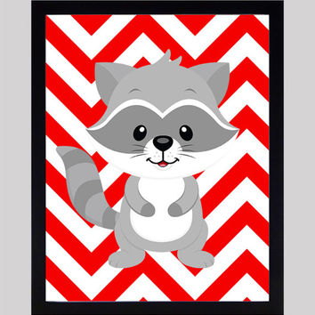 Gray Raccoon on Red Chevron Nursery Decor Baby Print Animals Art CUSTOMIZE YOUR COLORS 8x10 Prints Nursery Decor Art Baby Room Decor Kids