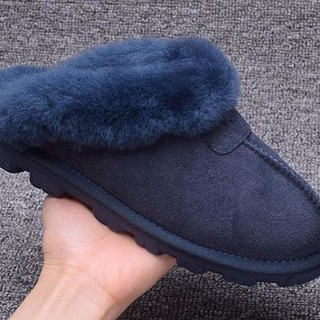 ESBON UGG Slipper Sheepskin Women Men Fashion Casual Wool Winter Snow Boots Blue