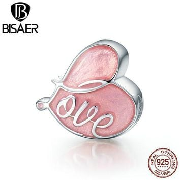 ac spbest BISAER Real 100% 925 Sterling Silver Pink Enamel Romantic Fall In Love Charms Beads Fit Pandora Bracelet Jewelry ECC133