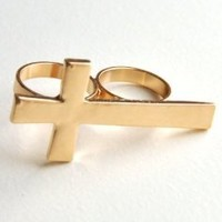 Amazon.com: Vintage jewelry cross two finger ring gold tone art deco punk gothic: Jewelry