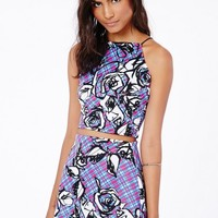 Missguided - Iona Spaghetti Strap Abstract Floral Crop Top