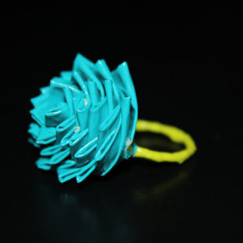 Blue and Paint Splatter Duct Tape Rings by directionergirll