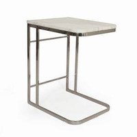 Carrara Marble With Stainless Steel Frame Side Table