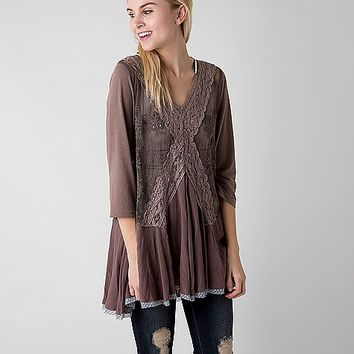 Gimmicks Embroidered Mesh Tunic Top
